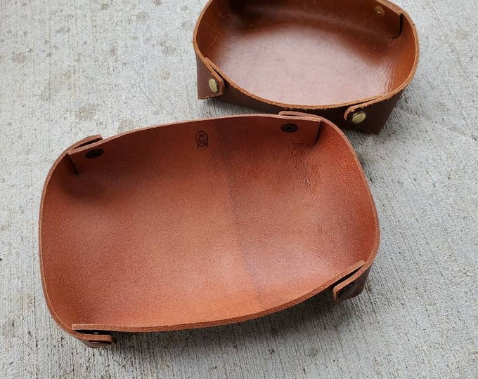 Leather Catchall Collapsible Valet Tray