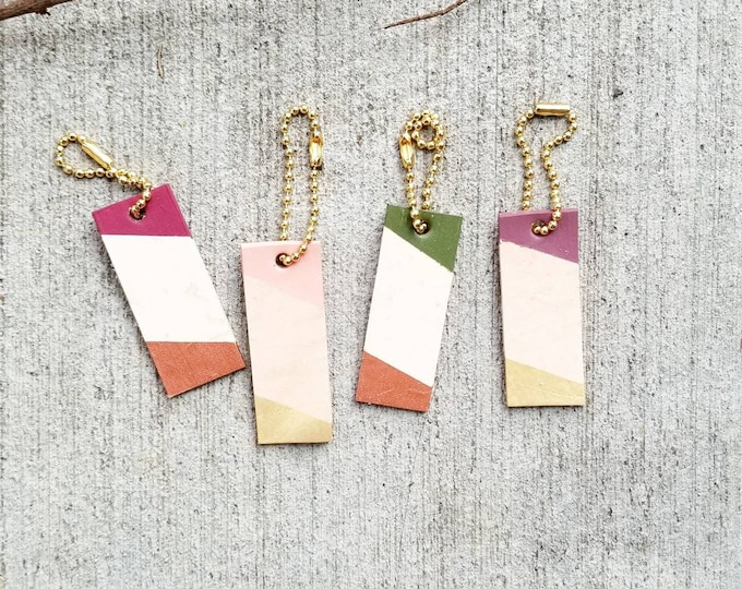 Woodsy Mini Leather tag, color block, keychain, charm, tag, personalized, gift tag