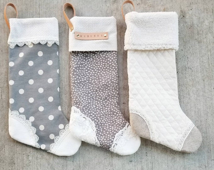 Custom Stockings, leather monogrammed, spots, dots, quilted with lace