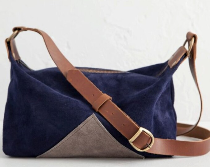 "Leather traveler messenger bag,  ""The Assistant"" , satchel. navy, suede"