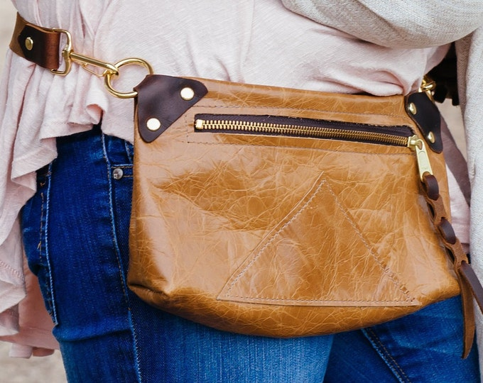 "Tan Leather fanny pack + cross-body ""Zippy pack"", Caramel/tan"