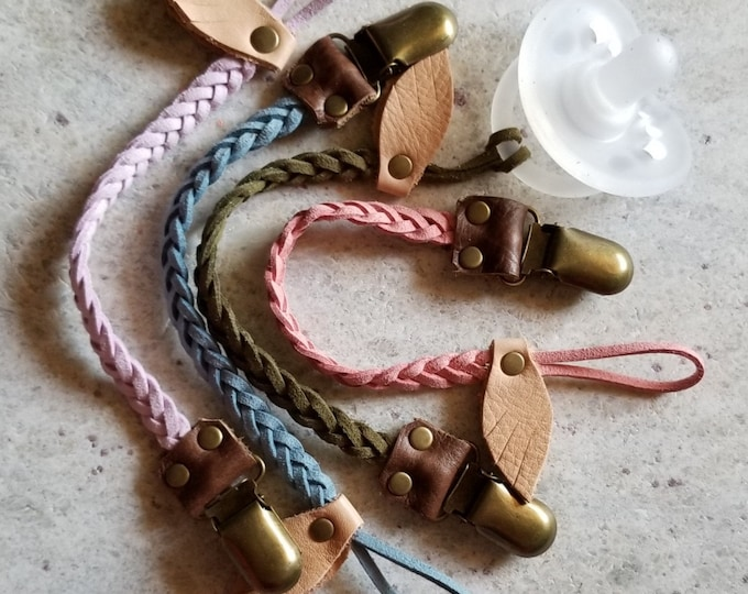 Braided Leather Pacifier Clip, multicolors