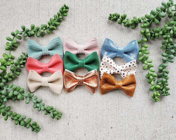 Classic Leather bow clip Duo set, hair bow, bow tie clip, Spring colors