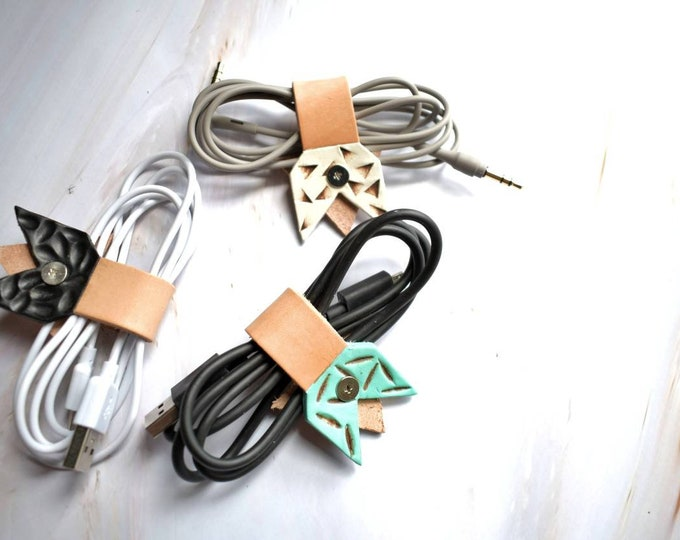 Leather cord keeper, cable tie, Arrow design, custom name, personalized, stamped