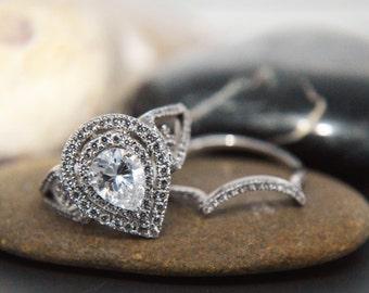 Double halo AAAAA grade pear shape .925 sterling silver engagement wedding set