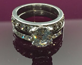 2ct AAAAA grade cubic zirconia.925 sterling silver silver bridal set