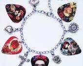 Frida Kahlo Day of the Dead guitar pick silver charm bracelet Custom options (Dia de los Muertos)