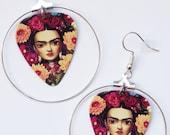Frida Kahlo Dark Art Portrait silver hoop guitar pick earrings Mexican Marigold