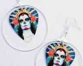 Day of the Dead sugar skull silver hoop guitar pick earrings (Dia de los Muertos)