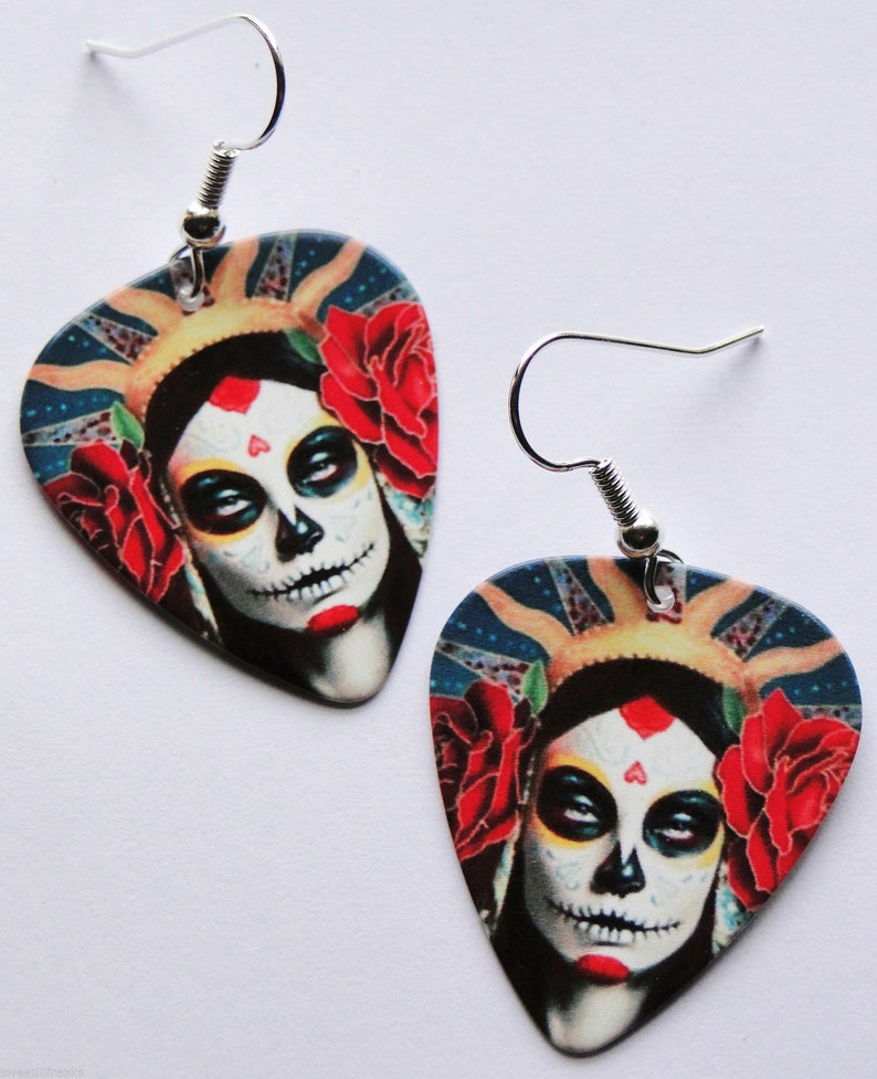 DAY OF THE DEAD FRIDA KAHLO GUITAR PICK EARRINGS DIA DE LOS MUERTOS MEXICO ART