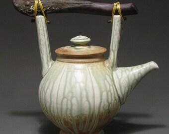 Teapot with manzanita twig handle, wood ash glaze