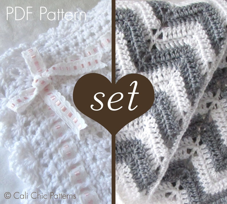 5def85f52c410 2 CROCHET PATTERN SET - 41 and 55 - Crochet Baby Blanket Patterns - Angel  Series 41 and Chevron Series 55 - Instant Download