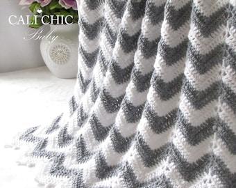 Crochet PATTERN 55 - Crochet Baby Blanket Pattern - Chevron Series - Instant Download PDF Pattern