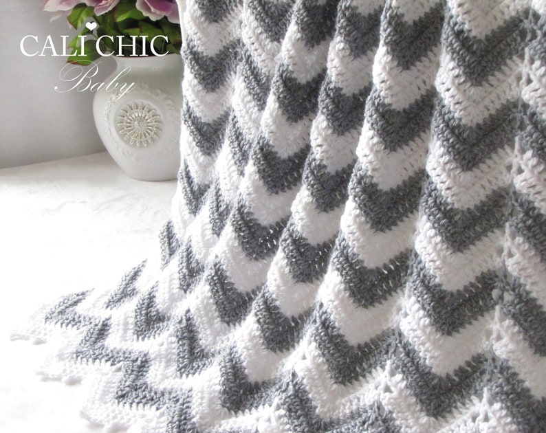 7abf680173273 Crochet PATTERN Baby Blanket Chevron 55, Crochet Baby Pattern, DIY Chevron  Baby Blanket, Instant Download PDF Pattern