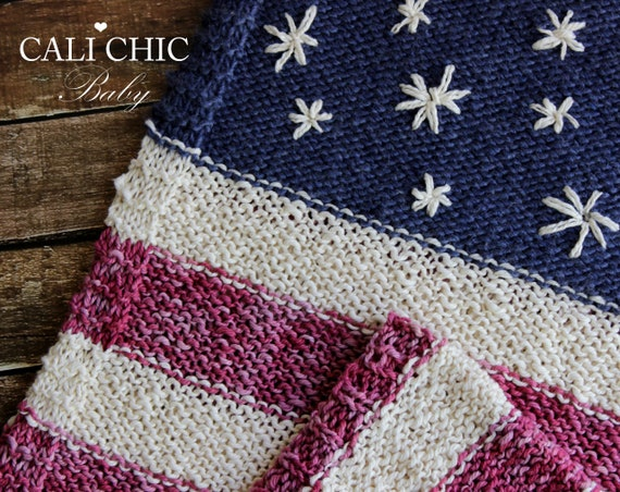 Easy Knitting Blanket Pattern 76 Stars Stripes American Etsy