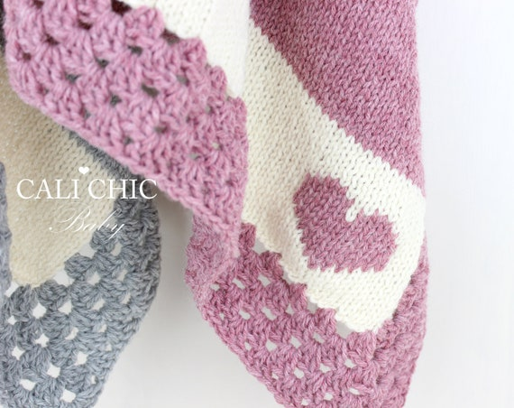 Blanket Knitting Pattern Heart Motif Knit Baby Blanket Etsy