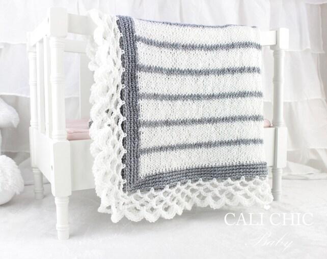 Knit Baby Blanket PATTERN 68 Crystal Lace Knit Blanket | Etsy