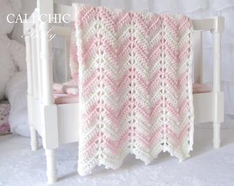 Crochet Baby Blanket PATTERN 55 - Chevron Series - Easy Crochet Blanket PATTERN 55 - Instant Download PDF