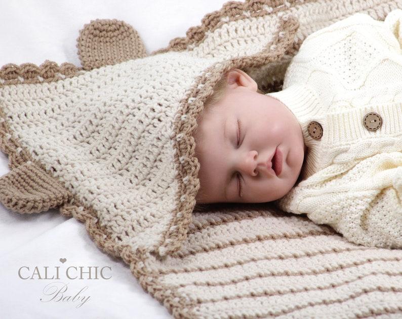 Hooded Baby Blanket Crochet Pattern Little Bear 157 Baby Etsy