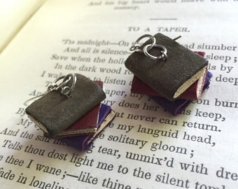 Stack of leather book earrings