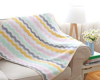 Soft Colors Crochet Ripple Blanket
