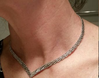 Sterling Silver Necklace V-Neck, Matching Earrings. Pretty Woven Texture, Made in Italy