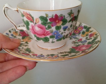 Crown Staffordshire Fine Bone China Teacup. Thousand Flowers, F7117. Made in England