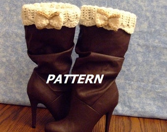 PATTERN Ribbed Boot Cuff with Bows Crochet