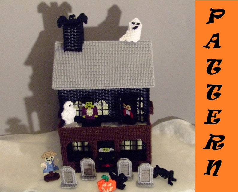 PATTERN Plastic Canvas Haunted House Interactive