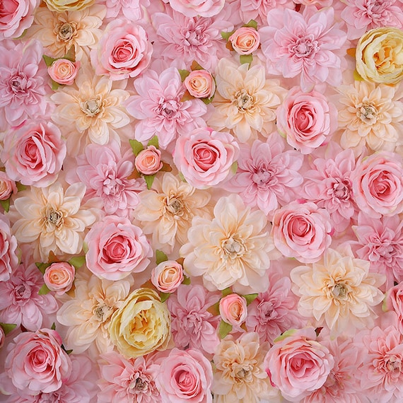 Baby pink wedding flower wall backdrops peony carnation daisy etsy image 0 mightylinksfo