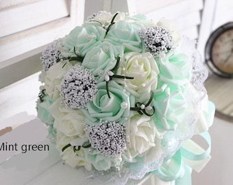 Mint Green Wedding Bouquet PE Flowers Bridal Bouquet  Wedding Centerpieces Decorations,Silk Ribbon Fake Flower Bouquets