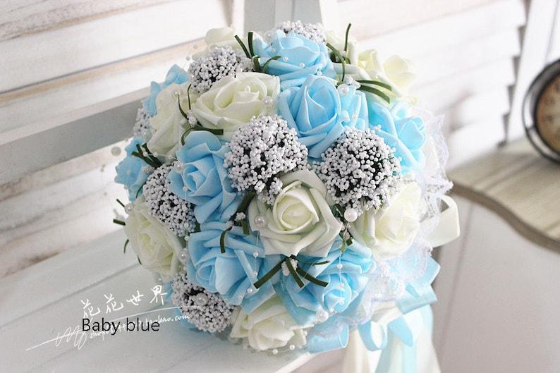 494247c831 Baby Blue Wedding Bouquet PE fiori Bouquet da sposa nozze image 0 ...