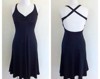 Vintage 1970s Black Disco Young Edwardian By Arpeja Cross Back Skater Halter Dress Size Small