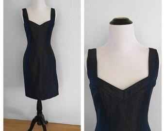1990s John Galliano Denim Gold Lurex Sweetheart Bodycon Mini Wiggle Dress  Size X-Small 5156ca64a