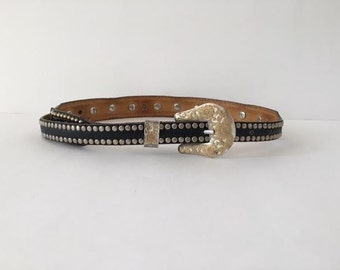Western Belt Metal Tipped Belt Vintage 80s Al Beres Goth Western Steampunk Gold/Silver Studded Concho Pearl Leather Belt Size Small