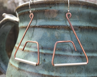 Mixed Metal Wire Earrings - Copper and Sterling Silver Abstract Forged Triangular Shapes