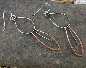Mixed Metal Dangle Wire Earrings - Delicate Copper and Sterling Silver Forged Hammered Shapes OOAK