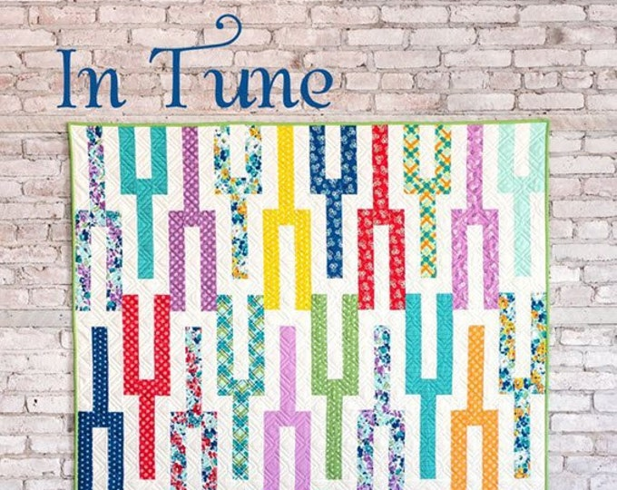 IN TUNE Quilt Pattern #168 by Cluck Cluck Sew - 4 Sizes - Beginner Friendly Jelly Roll Quilt Project (W4964)