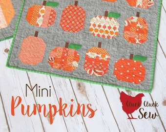 """MINI PUMPKINS Quilt Pattern #174 by Cluck Cluck Sew - 23 1/2"""" x 29"""" Wall Hanging Finished Size - Little Autumn Quilt Project (W4969)"""