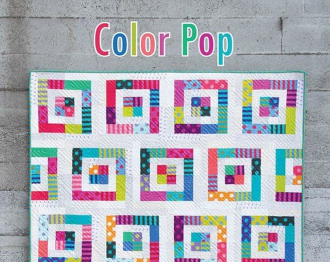COLOR POP Quilt Pattern #180 by Cluck Cluck Sew - 5 Sizes - Simple Jelly Roll Friendly Quilt for Beginners (W4974)