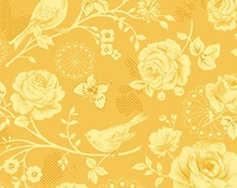 ZOEY - Meadow Lark in Sun Gold Yellow - Floral Birds Cotton Quilt Fabric - Eleanor Burns for Benartex Fabrics - 713-33 (W3504) Christine