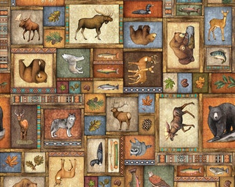 TIMBERLAND TRAIL - Animal Collage in Multi - Moose Bear Cotton Quilt Fabric - Dan Morris for Quilting Treasures Fabrics - 26805-X (W5032)