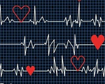 Calling All Nurses - Heart Beat EKG in Black - Cotton Quilt Fabric - Whistler Studios for Windham Fabrics 37302-1 (W449)