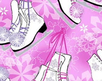 """11"""" REMNANT Winter Novelties - Ice Skates in Pink with Metallic Accents - Cotton Quilt Fabric - Benartex Fabrics - 5649G-22 (W3493)"""