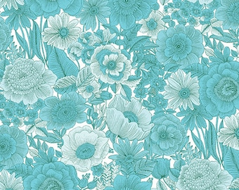 """25"""" Remnant LIBERTY GARDEN - Sweet Liberty in Turquoise Blue - Cotton Quilt Fabric - by Dover Hill for Benartex Fabrics - 1704-84 (W4761)"""