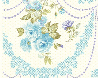 CHRISTINE - Rose Cameo in Glacier Frost Blue - Floral Cotton Quilt Fabric - Eleanor Burns for Benartex Fabrics - 712-50 (W2934) Zoey