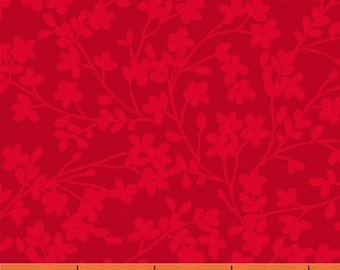 Half Yard Spin - Small Floral in Red - Cotton Quilt Fabric - by Whistler Studios for Windham Fabrics (W1321)