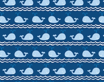 """31"""" REMNANT True Blue - Rowing in Blue - Cotton Quilt Fabric - Kid's Nautical Fabric - by Ana Davis for Blend Fabrics - 113.105.03.2 (W1849)"""