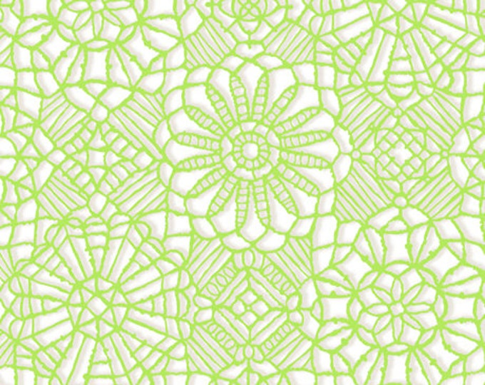 AMAZING LACE - Lace in White / Lime Green - (Not Actual Lace!!) Cotton Quilt Fabric - Quilting Treasures Fabrics - 24632-ZH (W5232)