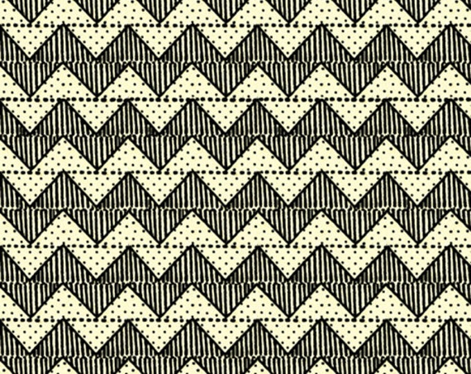 QUILTING B's - Chevron in Cream - Zigzag Stripes Cotton Quilt Fabric - Janet Wecker Frisch - Quilting Treasures Fabrics - 24959-E (W5242)